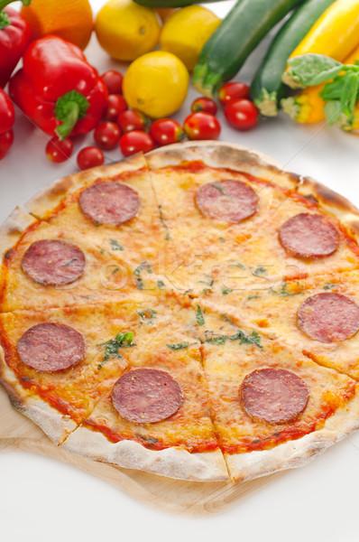 Stock fotó: Olasz · eredeti · vékony · pepperoni · pizza · friss · zöldségek