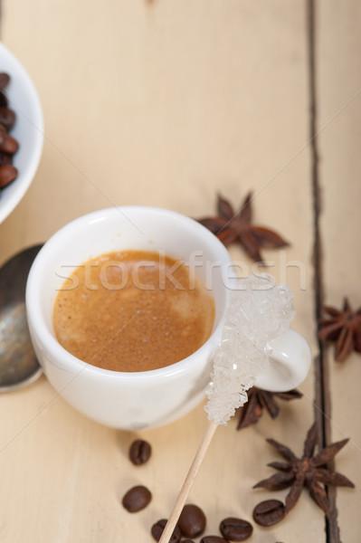Café expreso café azúcar especias blanco madera Foto stock © keko64