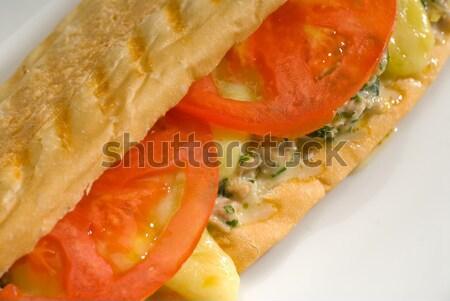 Stok fotoğraf: Ton · balığı · domates · peynir · ızgara · panini · sandviç