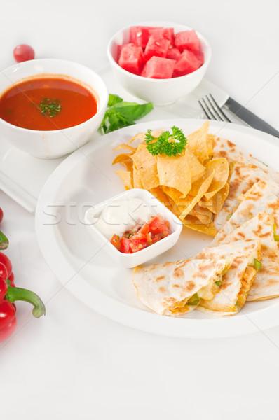 Stock fotó: Eredeti · mexikói · nachos · felszolgált · leves · görögdinnye