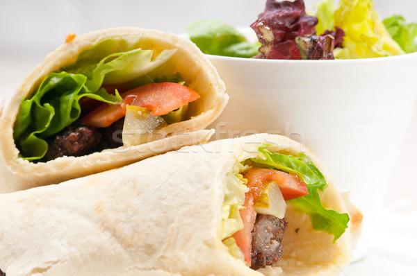 Tyúk pita csomagolás zsemle szendvics hagyományos Stock fotó © keko64
