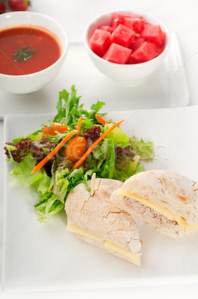 ストックフォト: マグロ · チーズ · サンドイッチ · サラダ · 魚 · 新鮮な