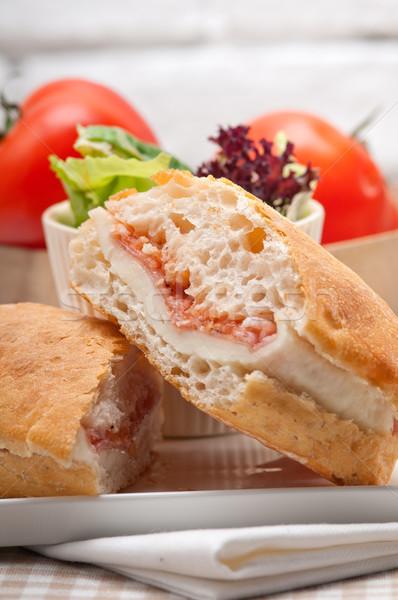 ciabatta panini sandwich with parma ham and tomato Stock photo © keko64