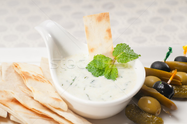 Greek Tzatziki yogurt dip and pita bread Stock photo © keko64