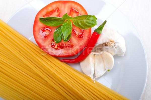 İtalyan spagetti makarna domates malzemeler Stok fotoğraf © keko64