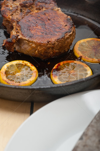 Varkensvlees kotelet ijzer citroen specerijen Stockfoto © keko64