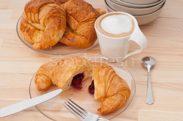 fresh croissant french brioche and coffee Stock photo © keko64