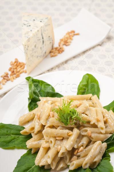 Italian pasta penne gorgonzola and pine nuts Stock photo © keko64