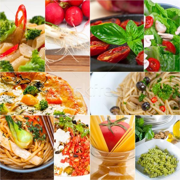 Saludable vegetariano vegetariano alimentos collage blanco Foto stock © keko64