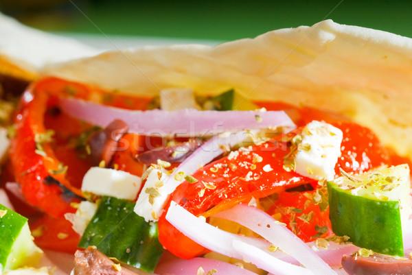 Vers salade eigengemaakt pita gezonde voeding Stockfoto © keko64