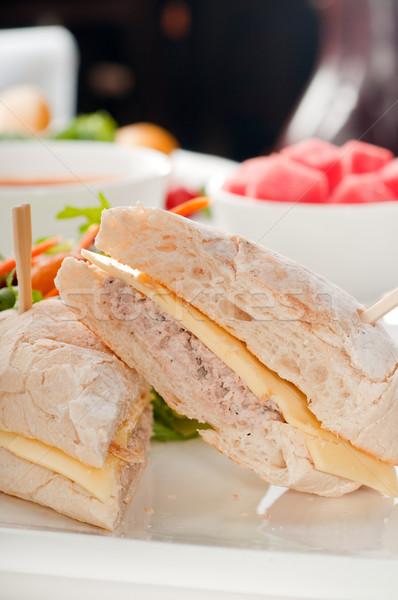 Ton balığı peynir sandviç salata balık taze Stok fotoğraf © keko64