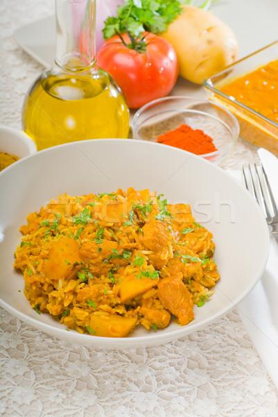 curry beef rice and potatoes Stock photo © keko64