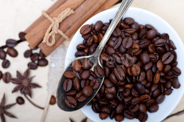 Сток-фото: кофе · сахар · Spice · серебро · ложку · белый