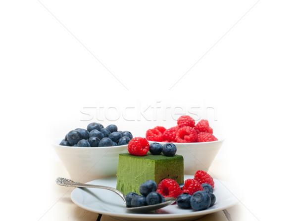 green tea matcha mousse cake with berries Stock photo © keko64