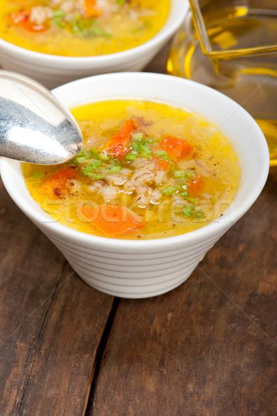 Cevada caldo sopa estilo tradicional típico Foto stock © keko64