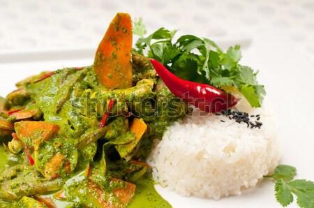 Pollo verde curry hortalizas arroz verduras frescas Foto stock © keko64