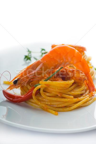 pasta and spicy shrimps Stock photo © keko64
