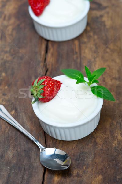 organic Greek yogurt and strawberry Stock photo © keko64