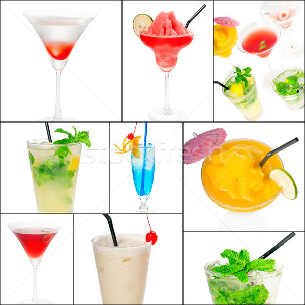 Photo stock: Cocktails · collage · boissons · carré · cadre · fruits