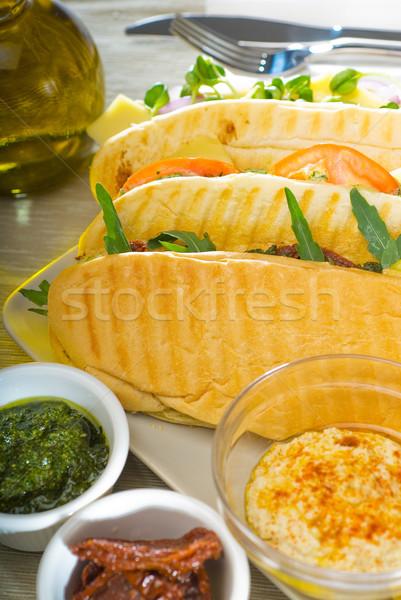 Панини сэндвич свежие домашний вегетарианский Сток-фото © keko64