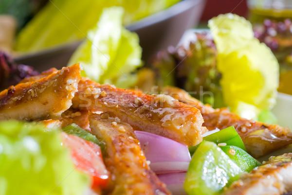 Gergelim salada de frango fresco comida restaurante Foto stock © keko64