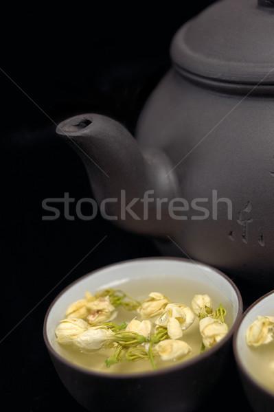 chinese jasmine tea pot and cups Stock photo © keko64