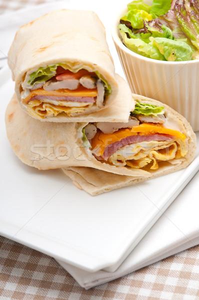 クラブサンドイッチ ピタ麻 パン ロール 新鮮な 健康 ストックフォト © keko64