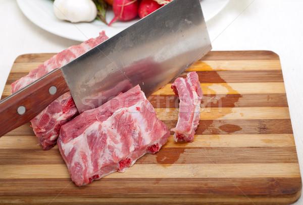 Fresche carne di maiale verdura erbe pronto Foto d'archivio © keko64