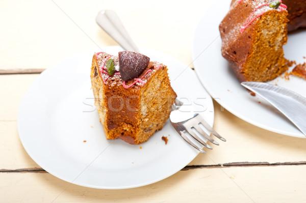 Stockfoto: Kastanje · cake · brood · dessert · vers · amandelen