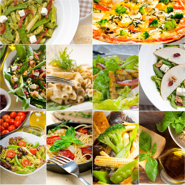 healthy and tasty Italian food collage Stock photo © keko64