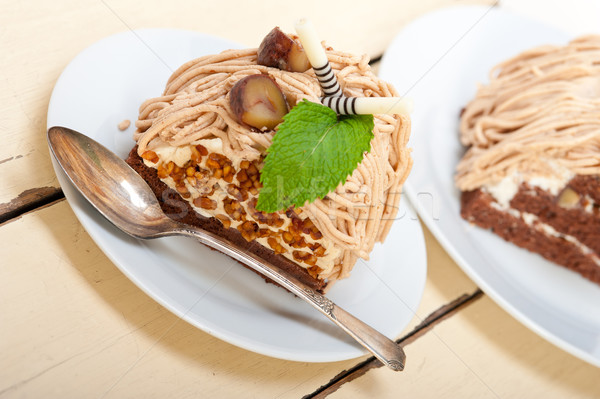 Kastanje room cake dessert vers gebakken Stockfoto © keko64
