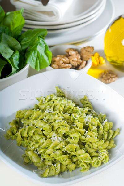 italian fusilli pasta and pesto Stock photo © keko64