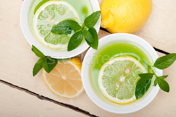 мята вливание чай лимона свежие здорового Сток-фото © keko64