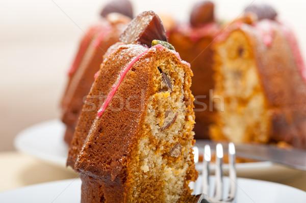 Foto stock: Castanha · bolo · pão · sobremesa · fresco