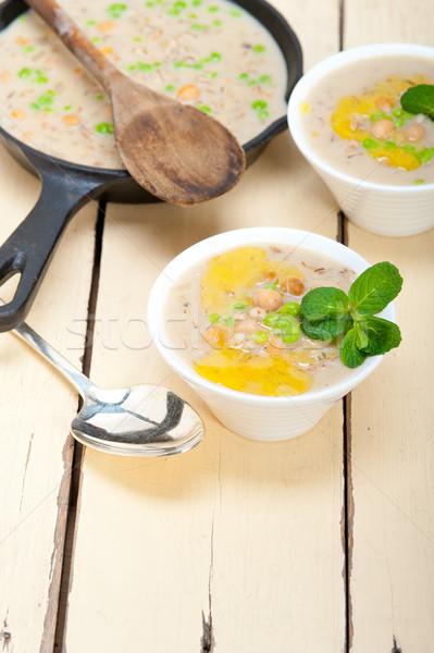 Gerst soep mint bladeren top Stockfoto © keko64