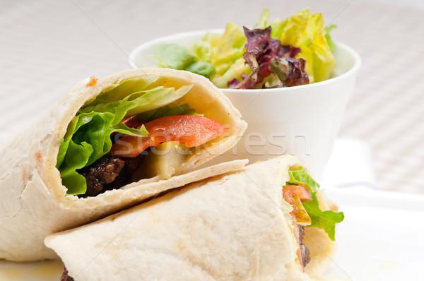 Foto stock: Frango · pita · rolar · sanduíche · tradicional