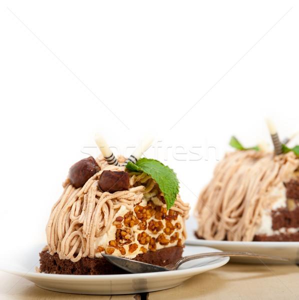 каштан кремом торт десерта свежие Сток-фото © keko64