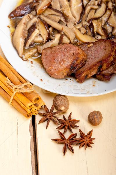 venison deer game filet and wild mushrooms Stock photo © keko64