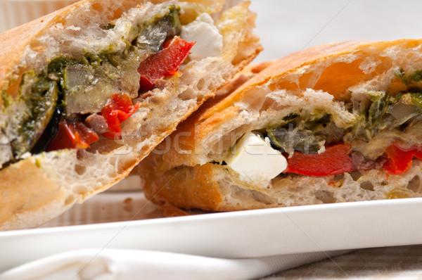Panini vegetal feta italiano comida Foto stock © keko64