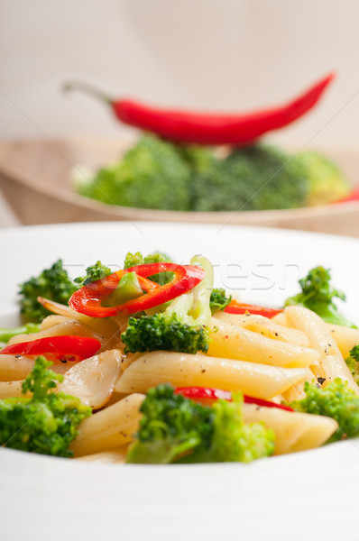Italian penne pasta with broccoli and chili pepper Stock photo © keko64