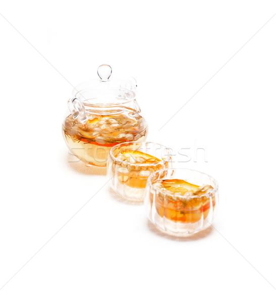 floral tea set over white Stock photo © keko64