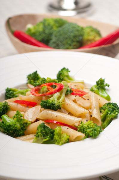 Italian penne pasta with broccoli and chili pepper Stock photo © keko64