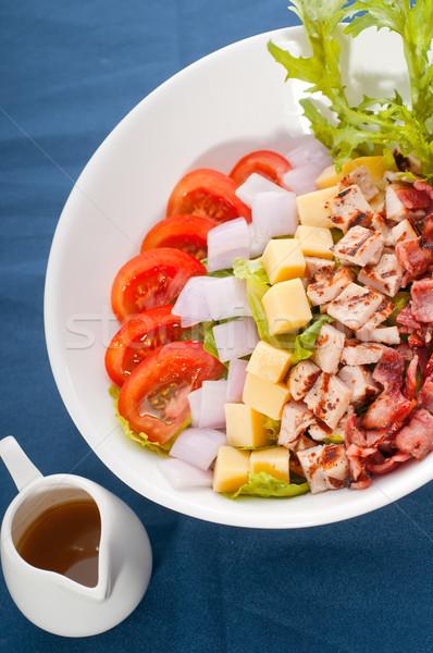 Vers caesar salade klassiek Blauw tafelkleed sluiten Stockfoto © keko64