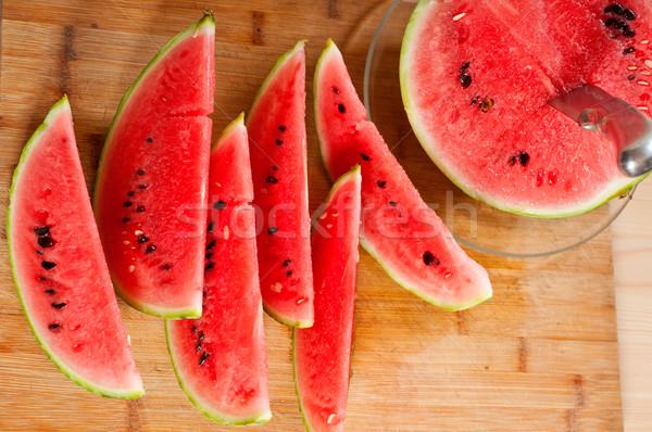 Friss görögdinnye fa asztal érett szeletel étel Stock fotó © keko64