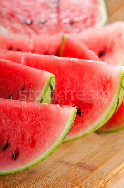 Stock photo: fresh watermelon on a  wood table