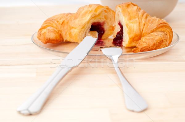 Croissant frans bessen jam vers gebakken Stockfoto © keko64