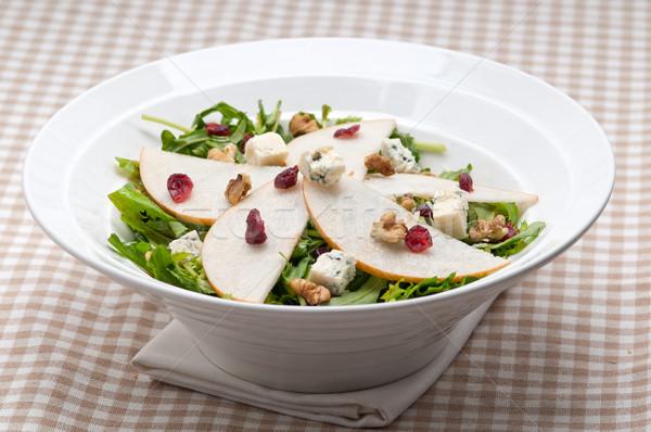 Fresh pears arugula gorgonzola cheese salad Stock photo © keko64