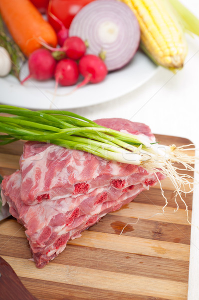 Photo stock: Fraîches · porc · côtes · légumes · herbes