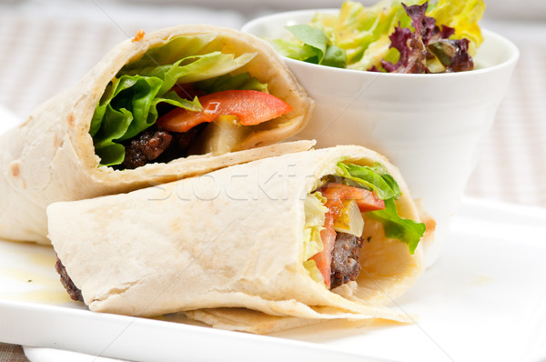 kafta shawarma chicken pita wrap roll sandwich Stock photo © keko64