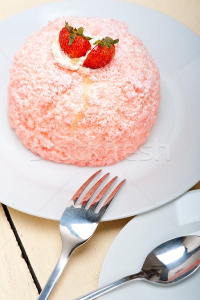 fresh strawberry and whipped cream dessert Stock photo © keko64